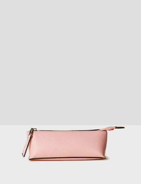 Light pink textured faux leather makeup bag