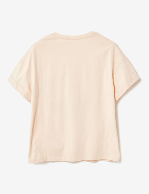 Light pink embroidered T-shirt