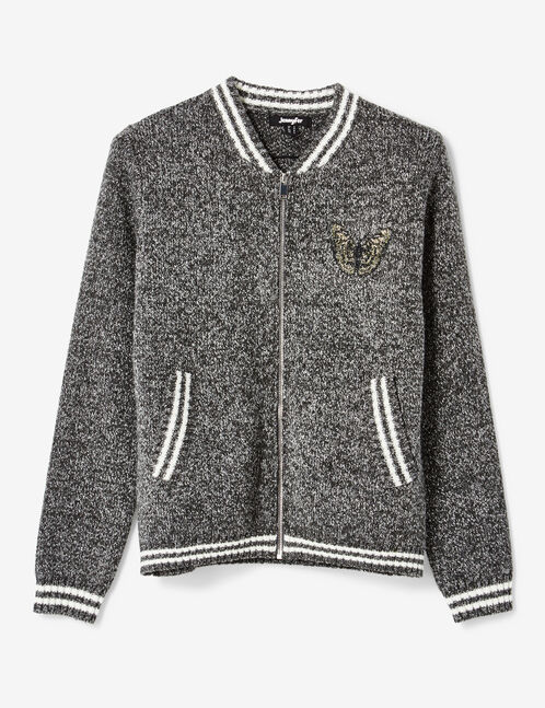 Grey and cream marl cardigan with patch detail