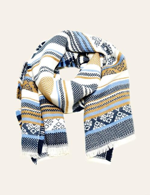 écharpe motif frise bleue, écrue et camel