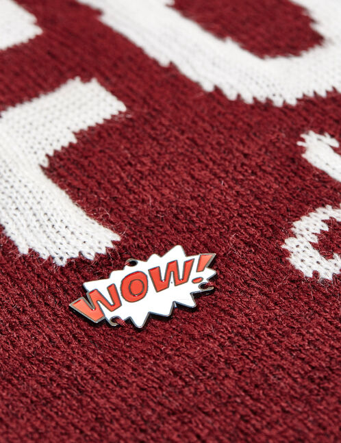 Burgundy jumper with badge detail