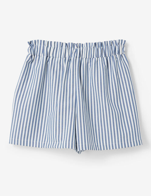 Blue and cream striped draped shorts