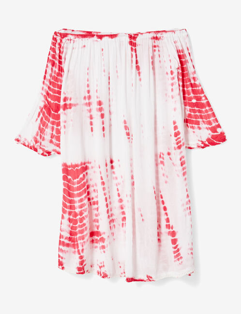 Pink and white off-the-shoulder dress