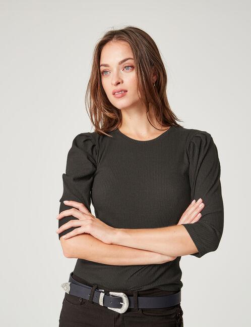 tee-shirt manches ballons noir