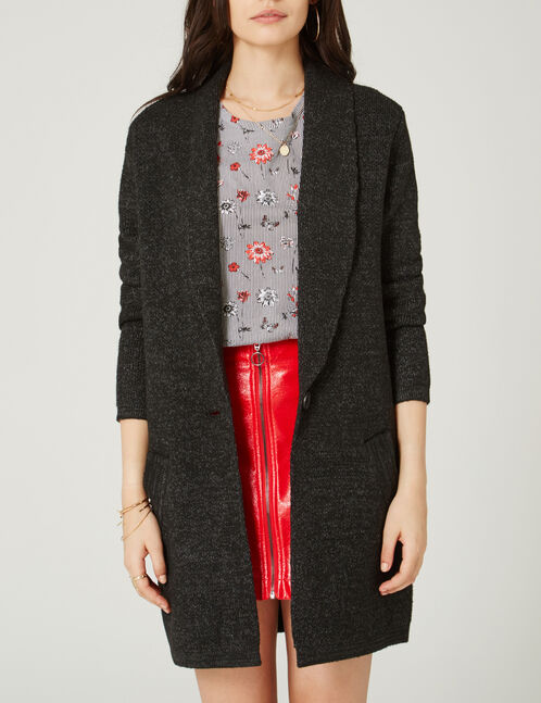 Long black and grey blazer-style knitted cardigan