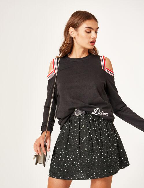 Black polka dot skirt
