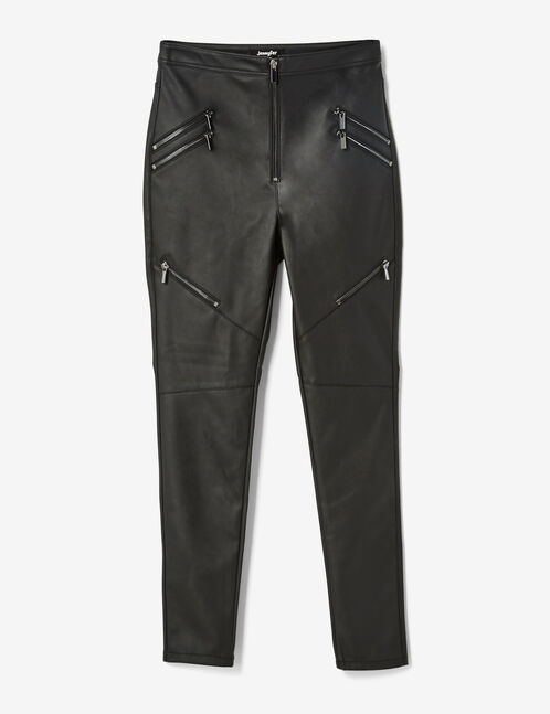 Black coated trousers with zip detail