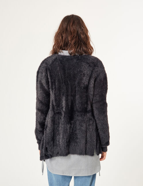 Black mohair-effect cardigan