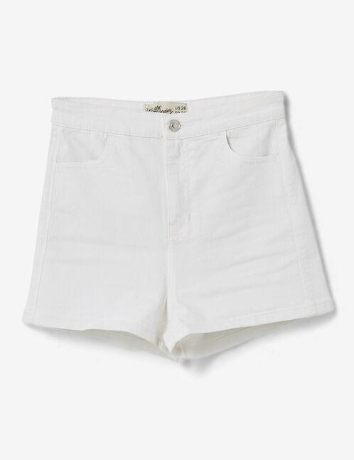 Cream high-waisted jegging shorts