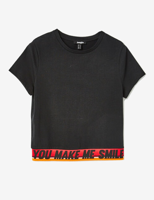 """Black """"make me smile"""" T-shirt"""