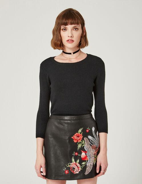 jupe brodée noire