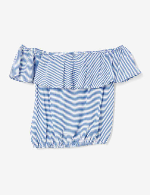Light blue striped blouse with frill detail