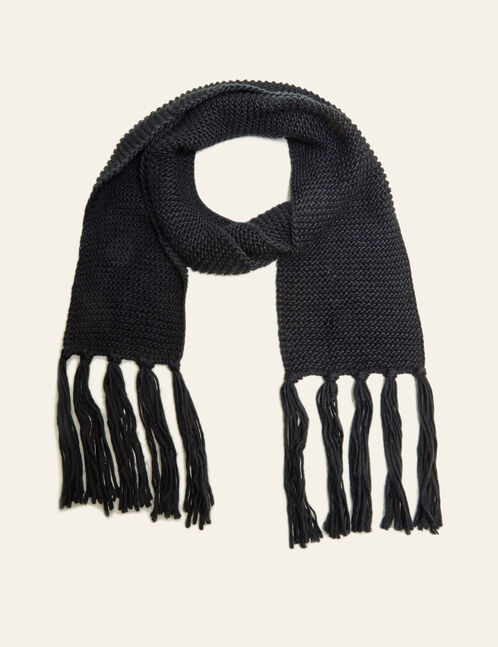 Black scarf with tassels