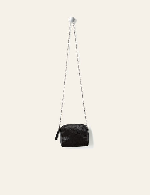 Small black faux suede python skin bag