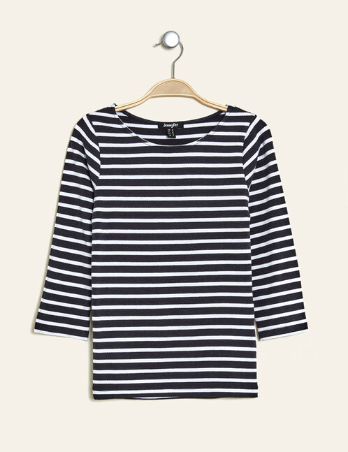 Basic navy blue and cream sailor striped top