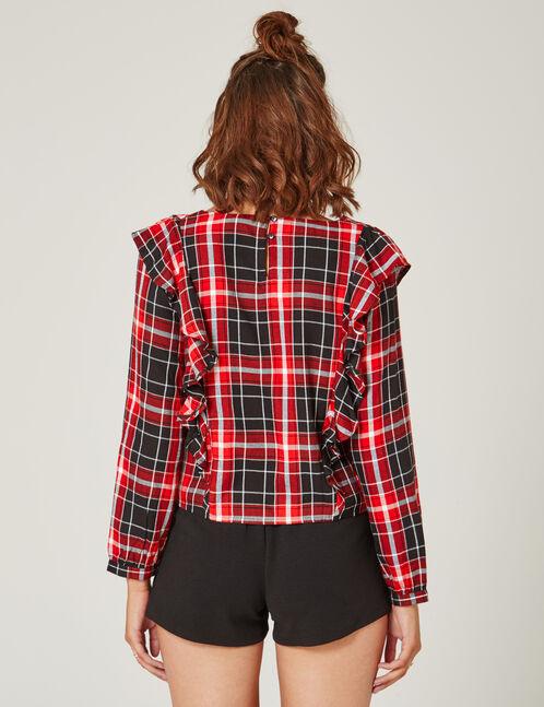 blouse à carreaux noire et rouge