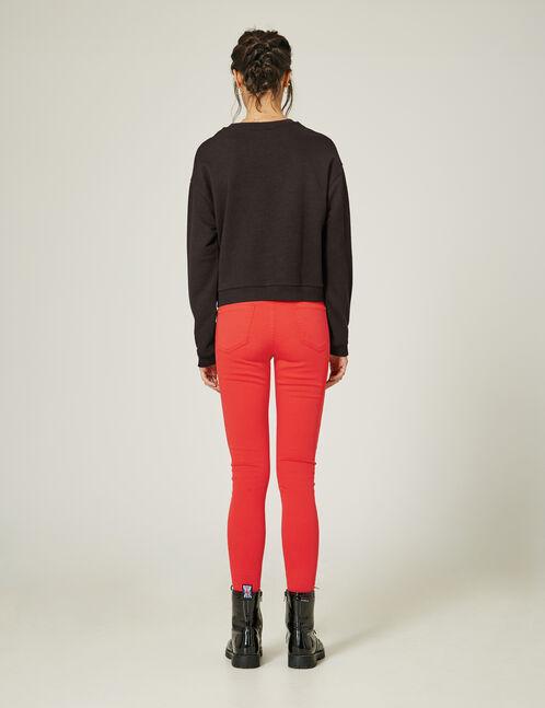 pantalon zips déco rouge