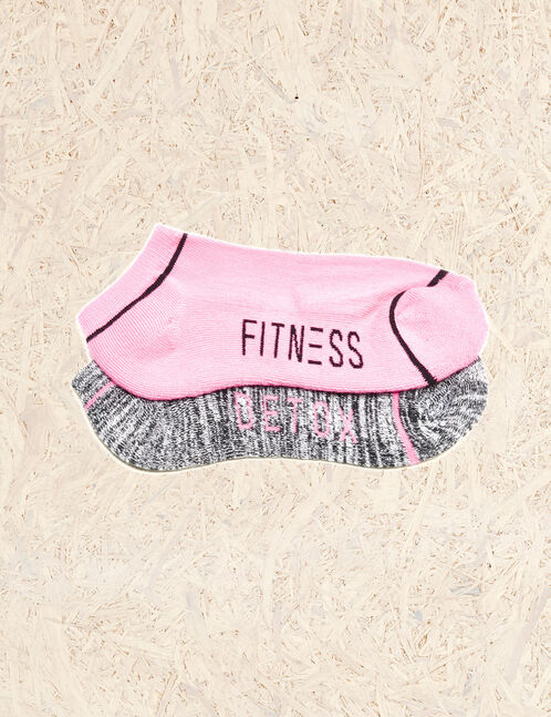 Pink and charcoal grey fitness socks