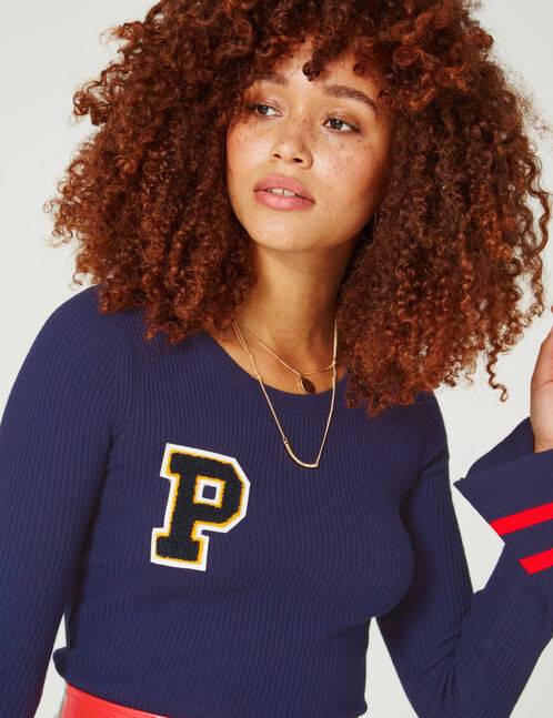Navy blue jumper with patch detail
