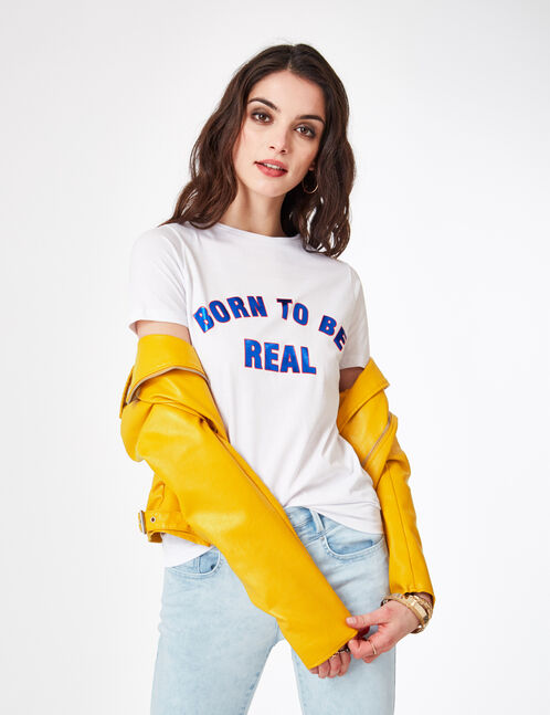 "Cream ""born to be real"" T-shirt"