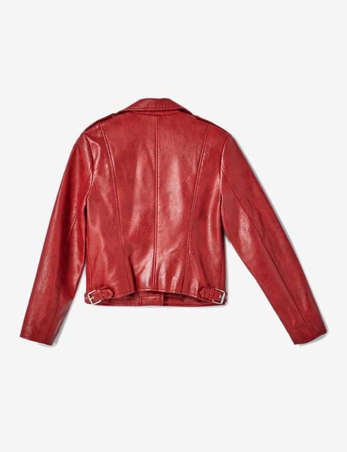 veste biker zip déco rouge foncé