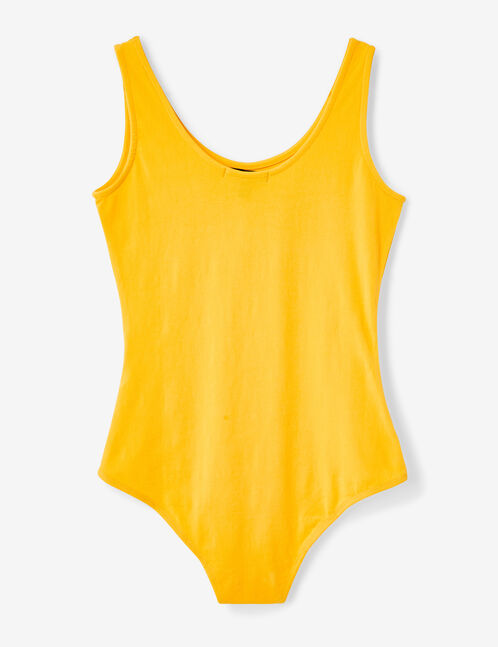 Yellow bodysuit with text design detail