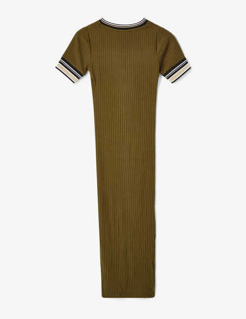 Khaki ribbed maxi dress
