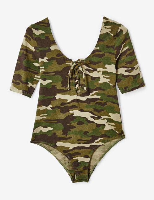 body camouflage avec laçage kaki