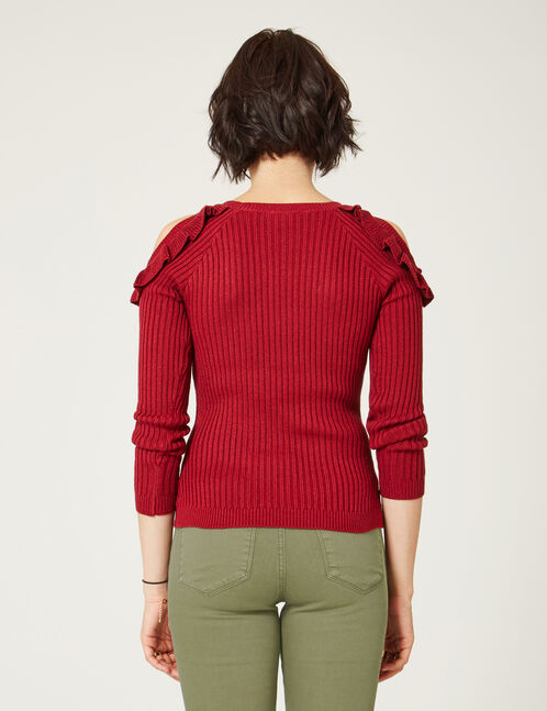 Dark red jumper with frill detail
