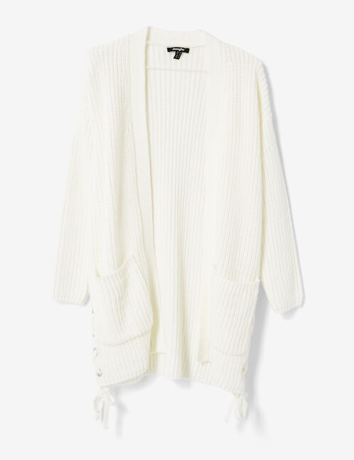 Long cream cardigan with lacing detail