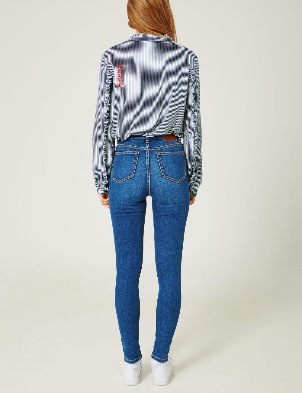 jean skinny taille haute medium blue femme jennyfer. Black Bedroom Furniture Sets. Home Design Ideas