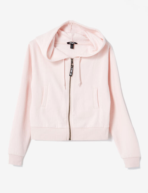 Light pink cropped zip-up hoodie
