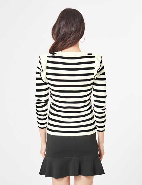 Black and white striped jumper with frill detail