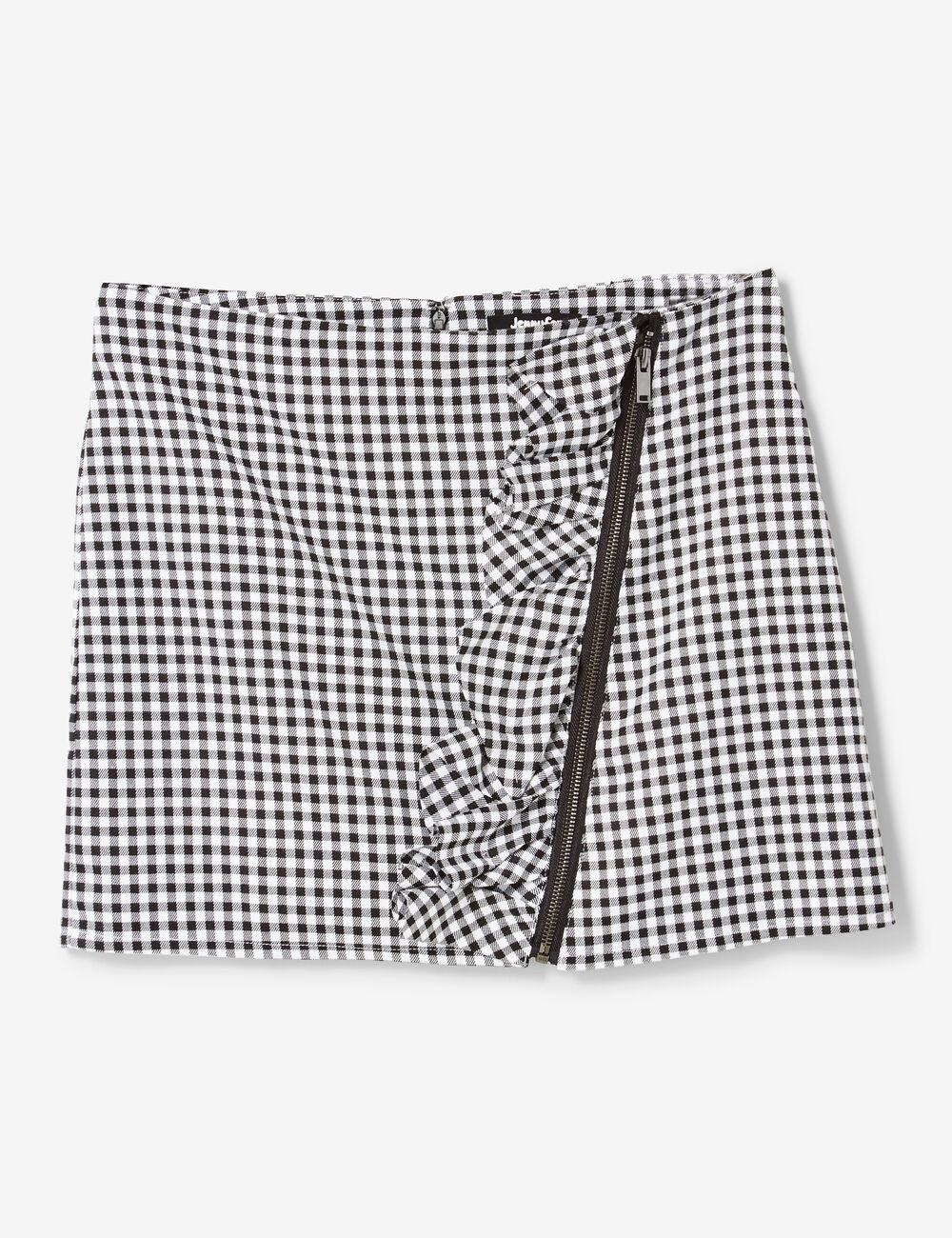 jupe avec zip et volant vichy noire et blanche femme jennyfer. Black Bedroom Furniture Sets. Home Design Ideas