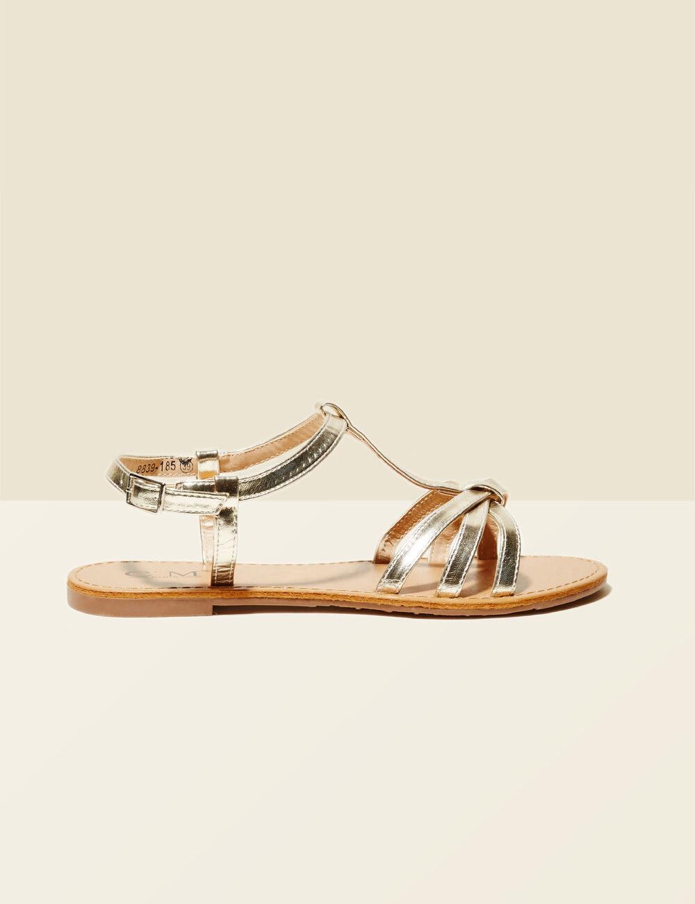 sandales plates dor es femme jennyfer. Black Bedroom Furniture Sets. Home Design Ideas