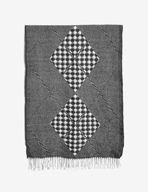 écharpe motif losanges écru et noir