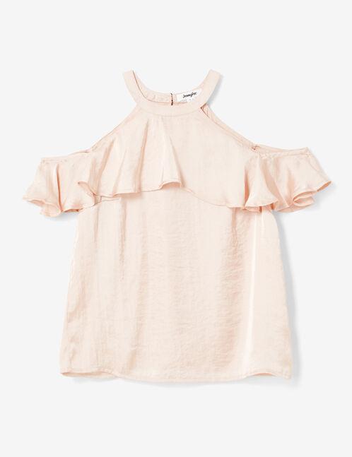 Light pink cold shoulder blouse