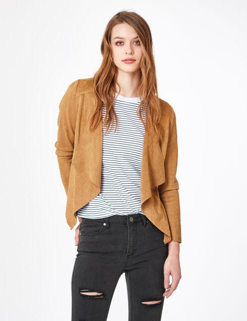 Camel faux suede jacket