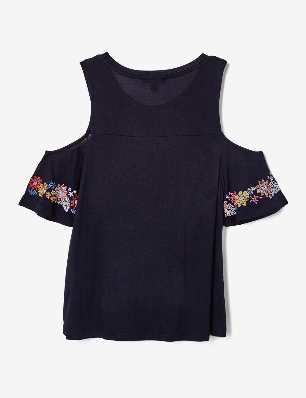 tee shirt avec broderies noir femme jennyfer. Black Bedroom Furniture Sets. Home Design Ideas