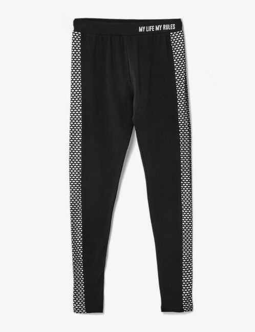 Black and white mixed fabric fitness leggings