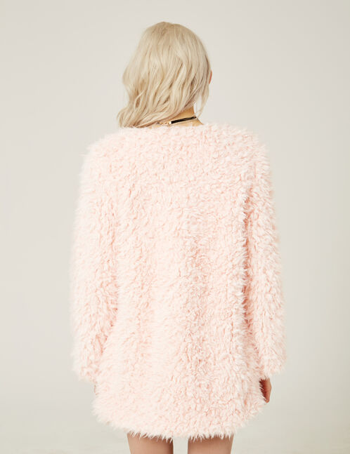 veste fausse fourrure rose clair