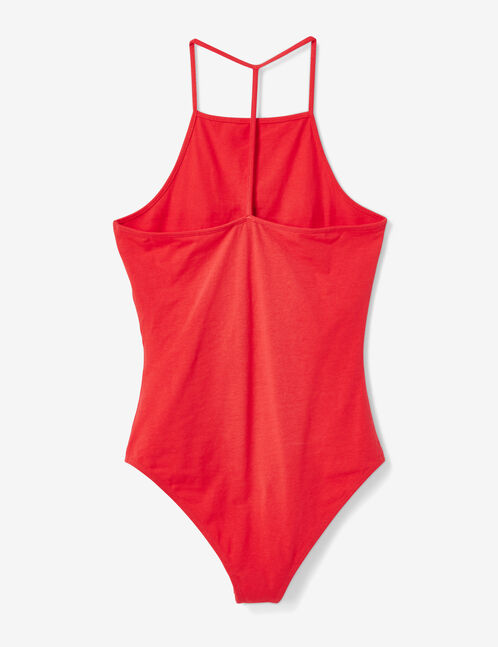 Red bodysuit with text design detail