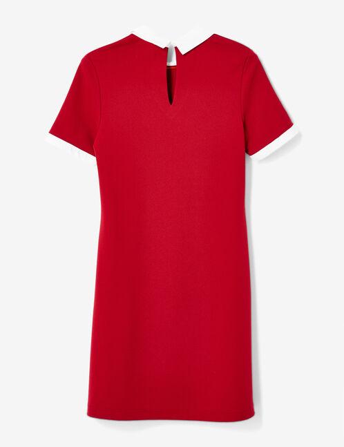 Dark red dress with white collar detail