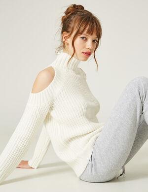Product Pull femme, écru, maille côtelée, épaules ajourées, finitions bords côtes, col montant, manches longues.Marque Jennyfer Catégorie pulls + gilets