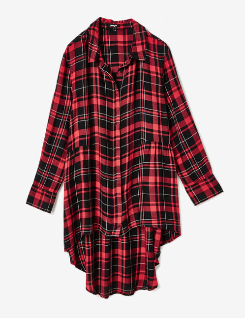 Long red and black checked shirt