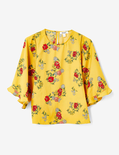 Ochre floral blouse