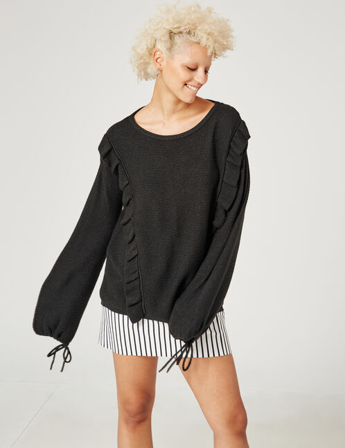 Black jumper with frill detail