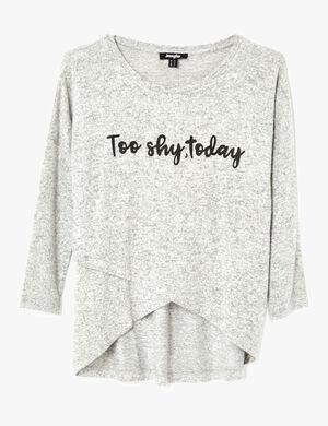 tee shirt effet croisé gris chiné