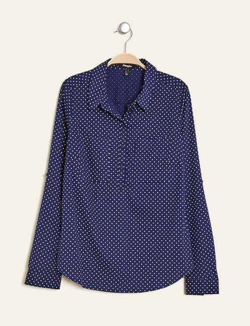 Basic navy blue polka dot blouse