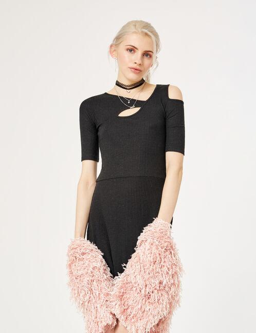 robe découpes asymétriques noire